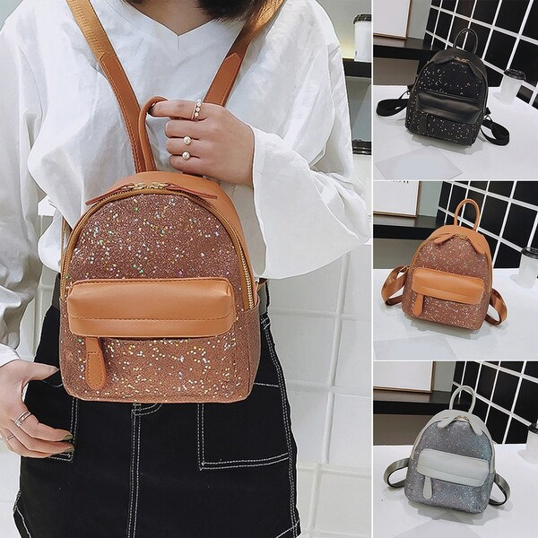 72cd161fa2b6 Fashion Star Sequin Faux Leather Women Shoulder Backpack School Travel Bag