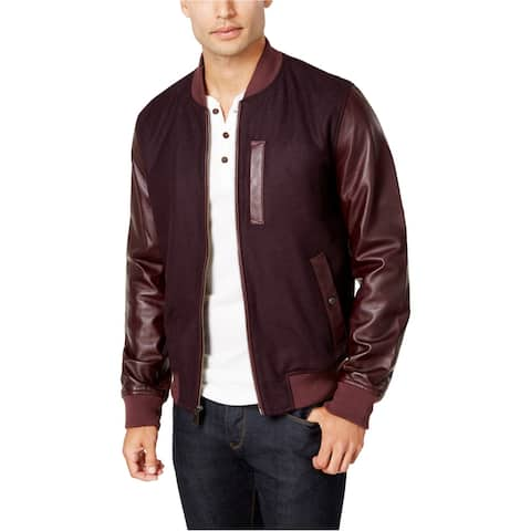 Tommy Hilfiger Mens Cascade Leather-Sleeve Bomber Jacket, red, Small
