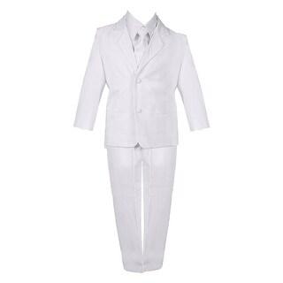 Boys White 5 Piece Classic Vest Jacket Pants Special Occasion Suit