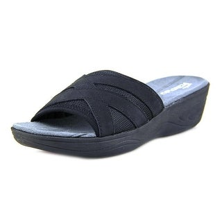 Easy Spirit Mariner Women Open Toe Leather Black Slides Sandal