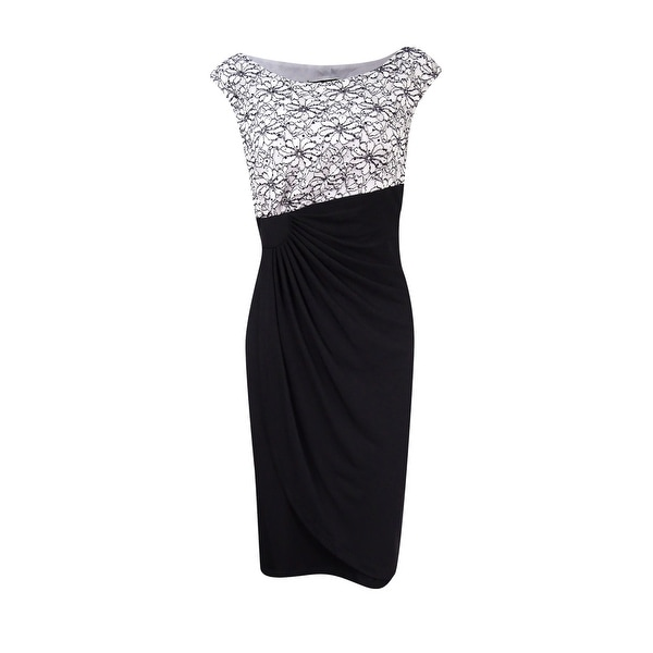 Connected Women's Petite Sparkle Lace Draped Sheath Dress - White/Black - 10P