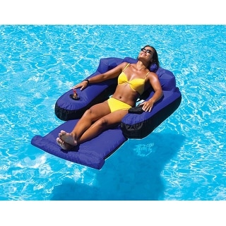 """55"""" Water Sports Blue and Black Inflatable Ultimate Floating Swimming Pool Chair Lounger"""