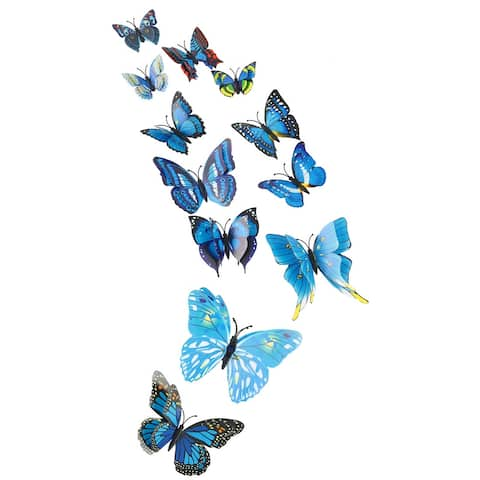 3D Butterfly with Double Wings Sticker with Pin for Room Decoration Blue