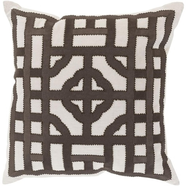 "18"" Chocolate Brown and Cream White Chinese Gate Decorative Linen Throw Pillow - Down Filler"