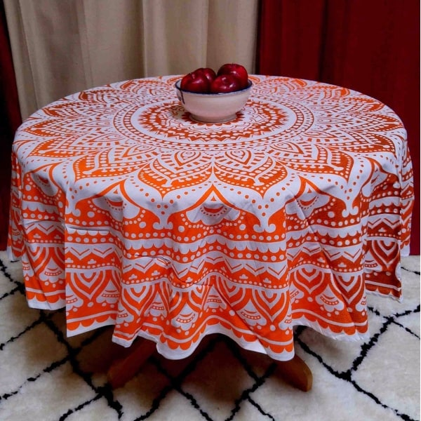 Handmade 100% Cotton Tie Dye Floral Tablecloth 69 Inch Round Orange Brown