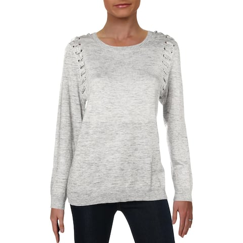 NY Collection Womens Petites Pullover Sweater Lace-Up Crewneck
