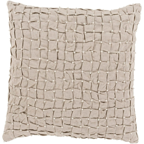 "20"" Elegantly Tufted Dove Gray Decorative Throw Pillow Accented with Faux Pearls - Down Filler"