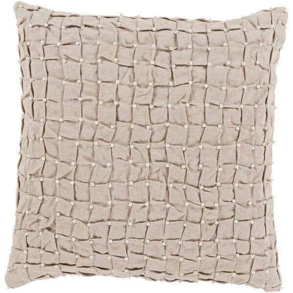 "20"" Elegantly Tufted Dove Gray Decorative Throw Pillow Accented with Faux Pearls"