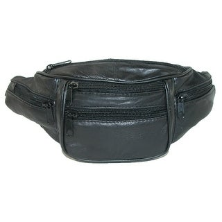 CTM® Leather 6 Pocket Waist Pack - Black