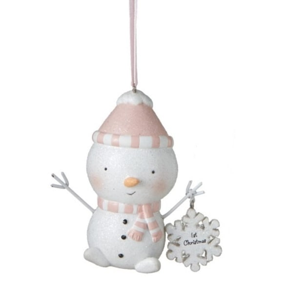 "3.5"" Peachy Pink Blushing ""1st Christmas"" Glittered Snowman Christmas Ornament"