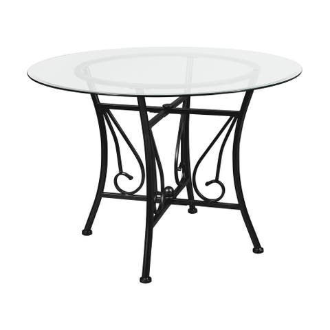 """42'' Round Glass Dining Table with Curl Accent Matte Metal Frame - 42""""W x 42""""D x 29""""H"""