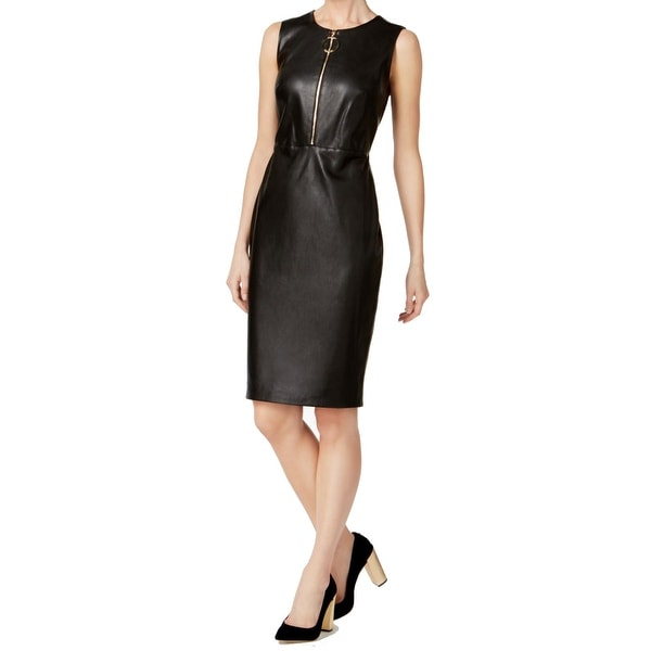 0c5c1ce71ca Shop Calvin Klein Black Women s Size 10 Faux-Leather Sheath Dress - Free  Shipping Today - Overstock - 27142736