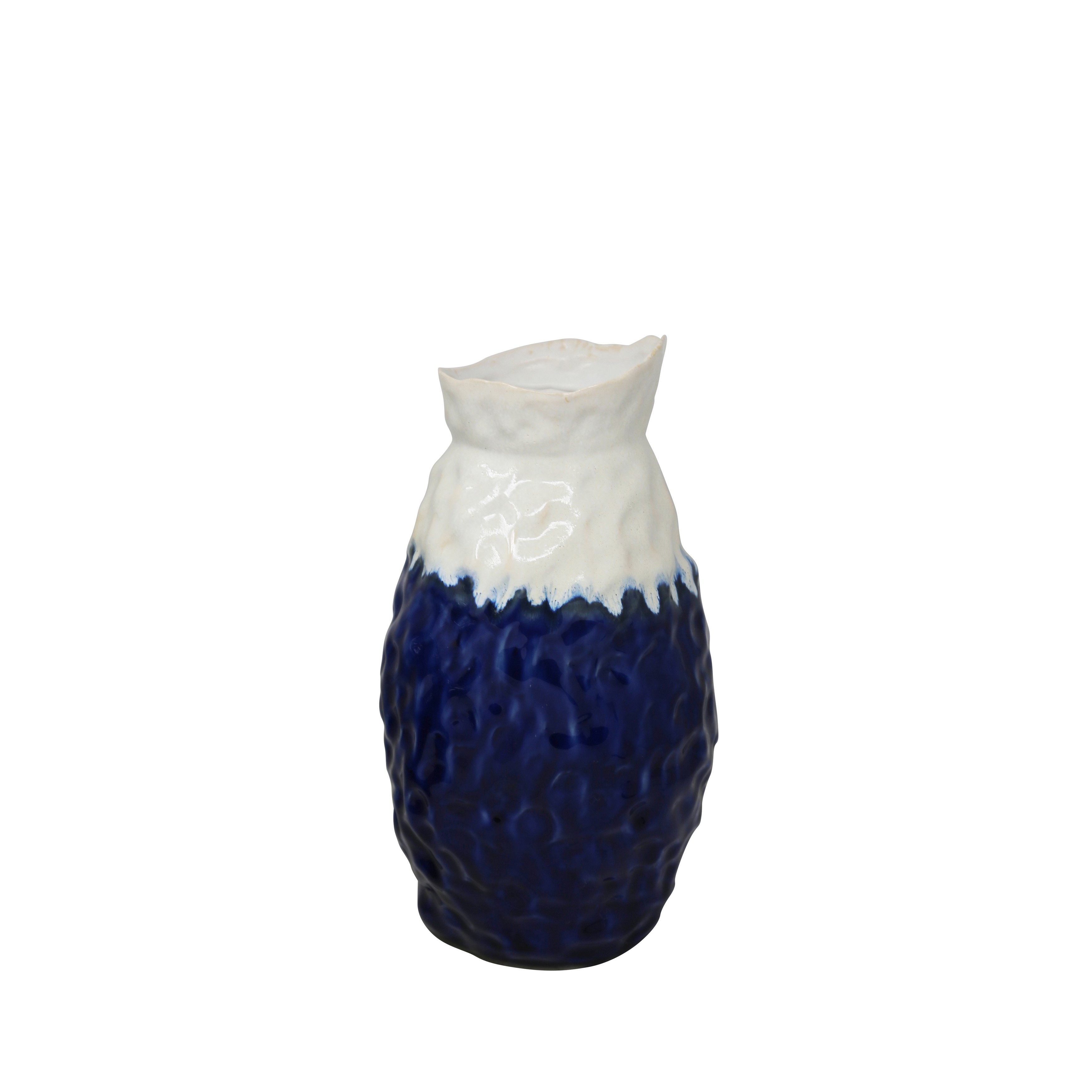 Contemporary Dual Tone Ceramic Vase with Flared Base, Large, White and Blue