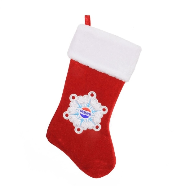 "19.25"" Decorative Pepsi Snowflake Embroidered Christmas Stocking - RED"