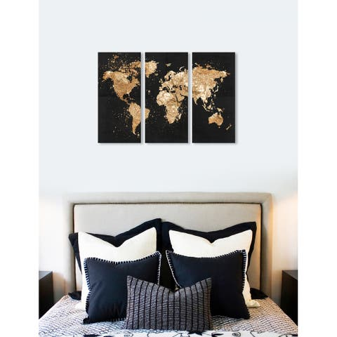 Oliver Gal 'Mapamundi on the Rocks Night Triptych' 3 Piece Set, World Map Canvas Wall Art Print - Gold