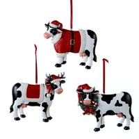 Kurt Adler Black and White  Cows Holiday Ornaments Set of 3 Resin