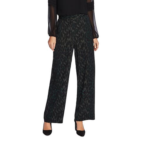 Vince Camuto Womens Umbra Forest Wide Leg Pants Satin Animal Print - Dark Willow