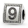 Sterling Silver Reflections Number 9 Triangle Block Bead (4mm Diameter Hole) - Thumbnail 0