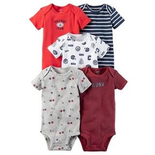 Carter's Baby Boys' 5-Pack Short-Sleeve Original Bodysuits, Half Pint - half pint team