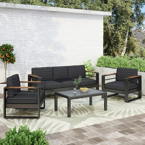 Giovanna Outdoor Aluminum 3 Seater Sofa with Water Resistant Cushions by Christopher Knight Home