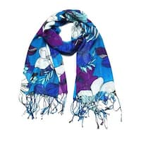 Women's Fashion Floral Soft Wraps Scarves - F10 Blue purple - Large