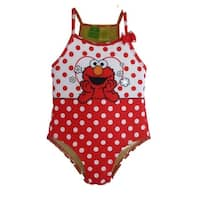 Sesame Street Baby Girls Red White Polka Dot Elmo One-Piece Swimsuit