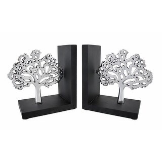 Wood/Polished Aluminum Tree of Life Bookends - White