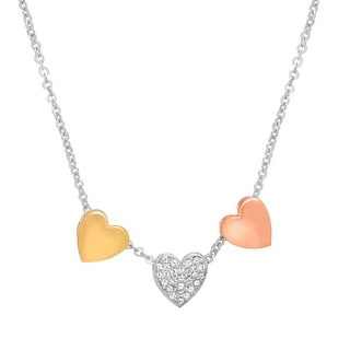 Crystaluxe Heart Necklace with Swarovski Crystals in Sterling Silver & 14K Gold-Plated Bronze - White