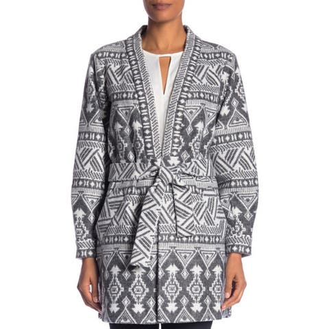 Laundry by Shelli Segal Plush Print Front Tie Coat, Charcoal, Small