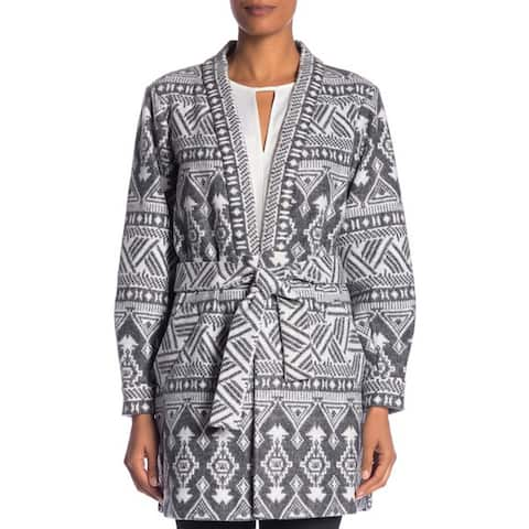 Laundry by Shelli Segal Plush Print Front Tie Coat, Charcoal, X-Small