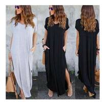 V-Neck Split Hem Pocketed Maxi Dress