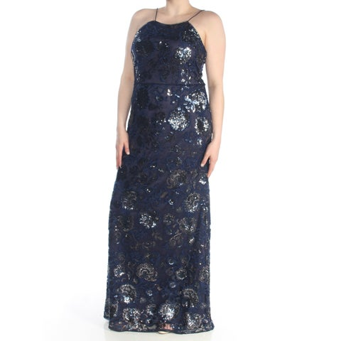 ADRIANNA PAPELL Womens Navy Sequined Sleeveless Halter Full-Length Evening Dress Size: 16