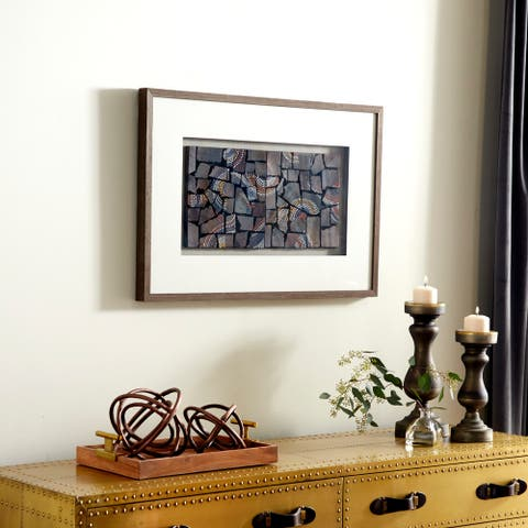 """Natural Wood with Multi-Colored Dotted Designs Shadow Box, 36"""" x 24"""""""