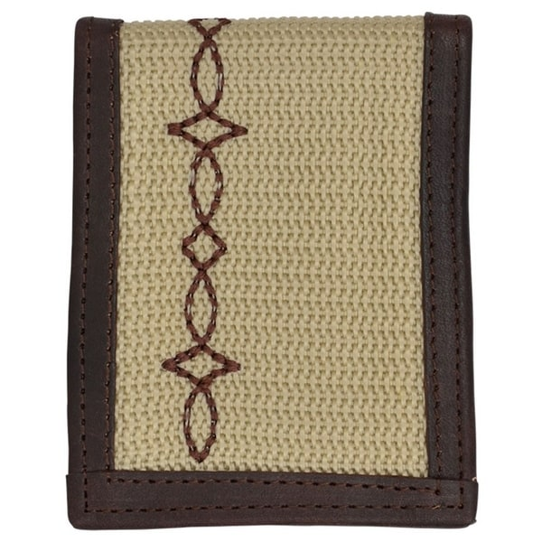 "Georgia Wallet Men Money Clip Work Canvas Woven ID Window Khaki - 3 1/4"" x 4"""