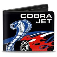 Cobra Jet Logo + Ford Oval Black Blue White Red Bi Fold Wallet - One Size Fits most