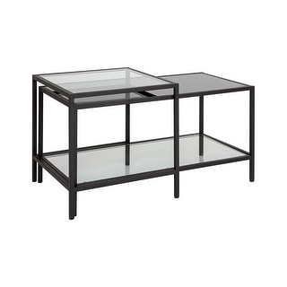Offex Contemporary Multi Tiered Glass Coffee Table with Black Metal Frame