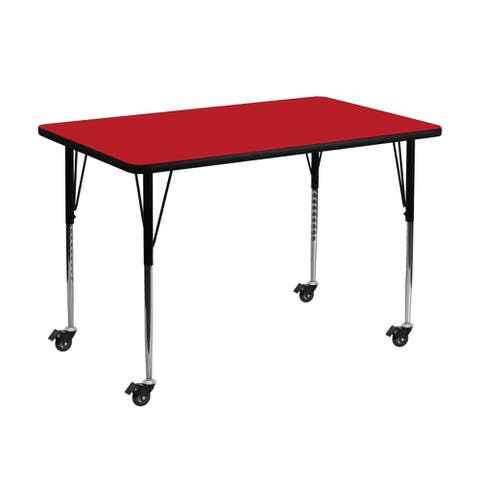 """Offex 36""""W x 72""""L Mobile Rectangular Activity Table with 1.25"""" Thick High Pressure Red Laminate Top and Height Adjustable Leg"""
