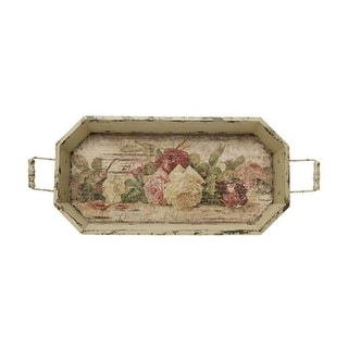 """24"""" Vintage Rose Distressed Finish Cream Floral Pattern Decorative Tray"""