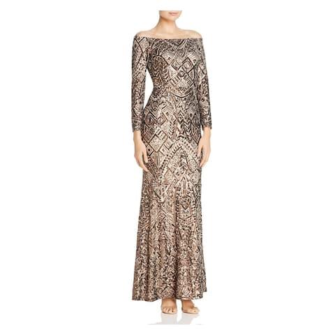 AQUA Brown Long Sleeve Full-Length Dress 0