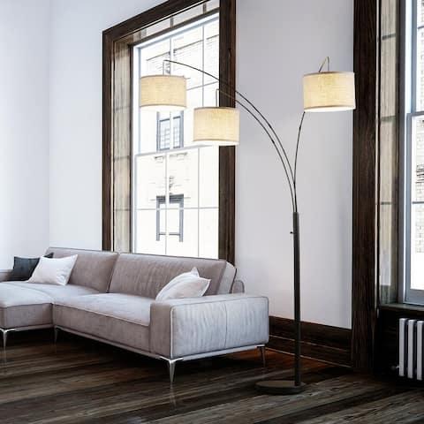 Archiology ROWAN 3 Light Arc Floor Lamp For Living Room - Nature/Black