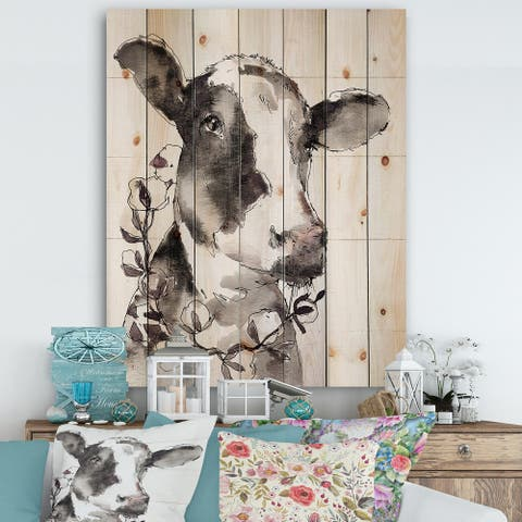 Designart 'Cow Portrait Country Life' Print on Natural Pine - Grey