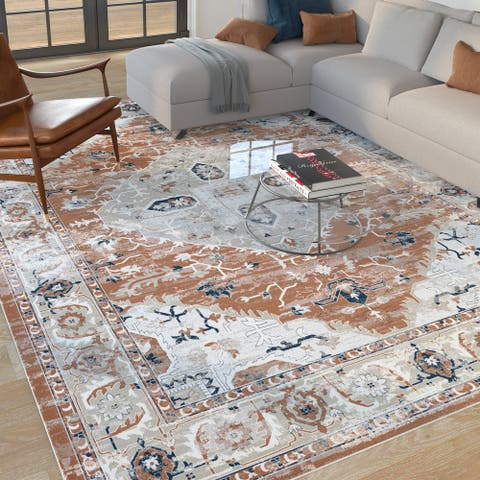 Rustfield Rust/Natural/Blue Area Rug by Greyson Living
