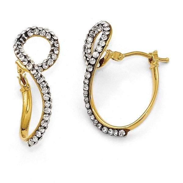 Italian 14k Gold Swarovski Elements Twisted Hoop Earrings