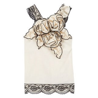 Girls Ivory Black Contrast Piping Rosette Lace Trim Cotton Top