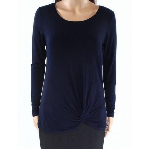Allen Allen Navy Blue Womens Size XS Scoop-Neck Twist-Hem Knit Top