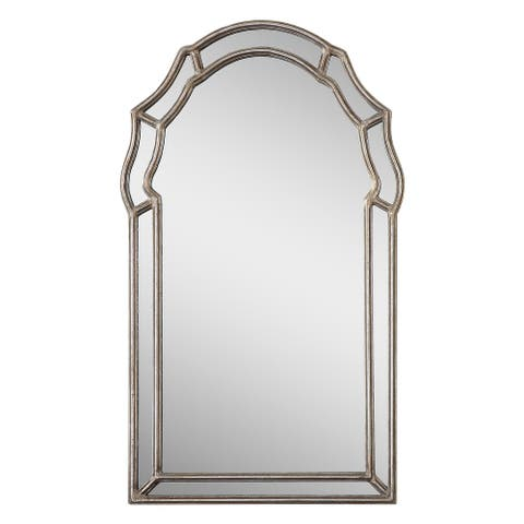 Antiqued Silver Arch-Crowned Top Mirror