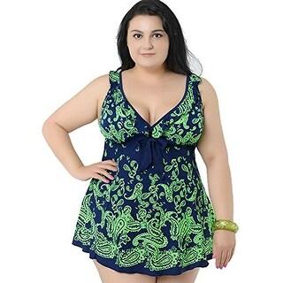 Women's Plus-Size Retro Print Two Piece Pin up Bathing Suits Swimdress