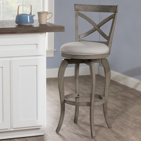 The Gray Barn Chatterly Aged Grey Swivel Counter-height Stool - 39H x 17.5W x 21D