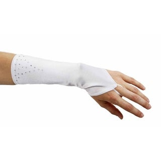 Rhinestone Refinement Long Fingerless Gauntlet Gloves