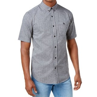 Ezekiel Gray Mens Size Large L Button Down Short-Sleeve Shirt